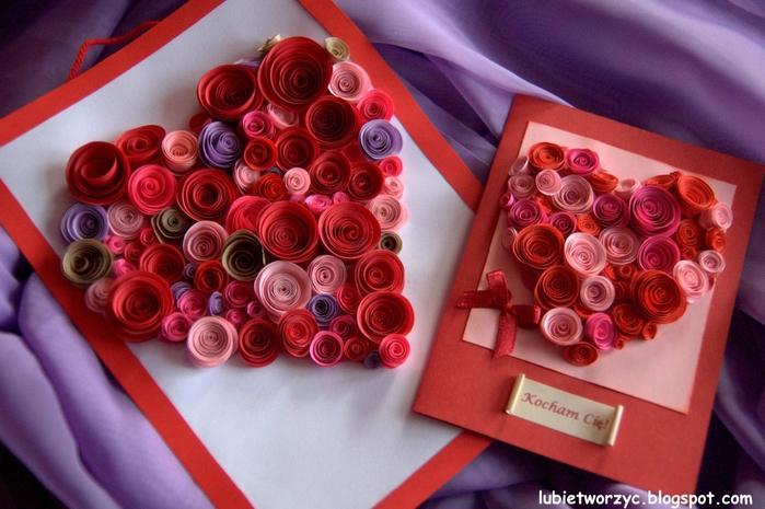 Валентинка из бумажных розочек для создания панно или открытки ручной работы (22) (700x465, 262Kb)