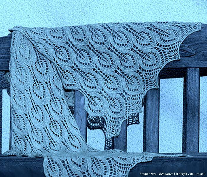 Ажурная шаль с листиками