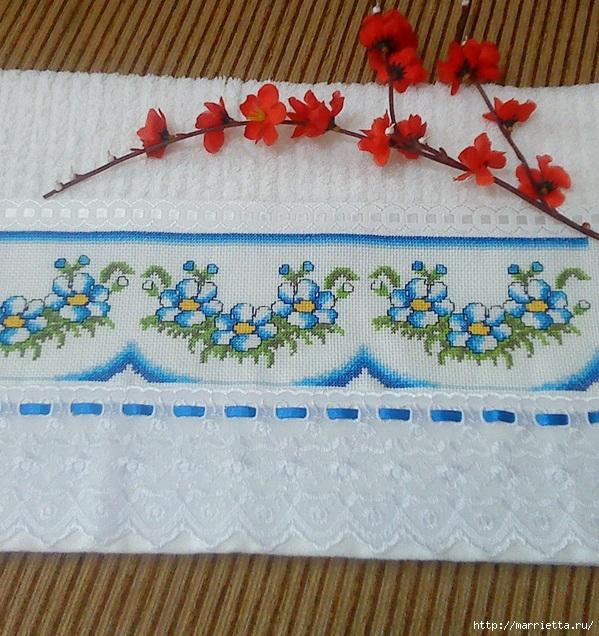 Схемы вышивки крестом для салфетки и полотенца (3) (599x636, 331Kb)