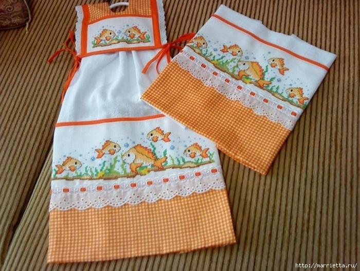 Схемы вышивки крестом для салфетки и полотенца (9) (700x527, 310Kb)