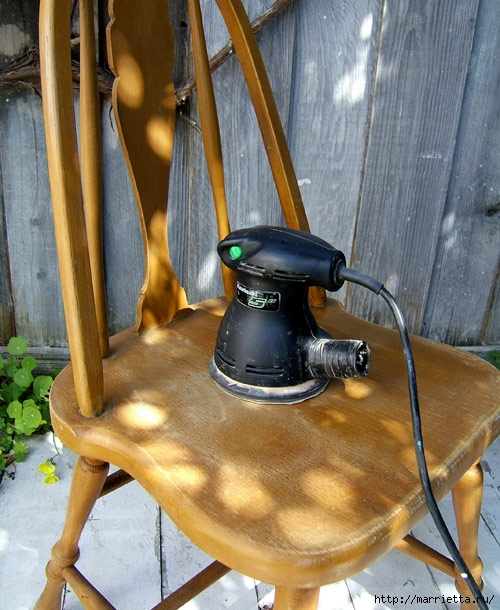 Кухонный стул с эффектом градиента. Реставрация мебели (3) (500x610, 231Kb)