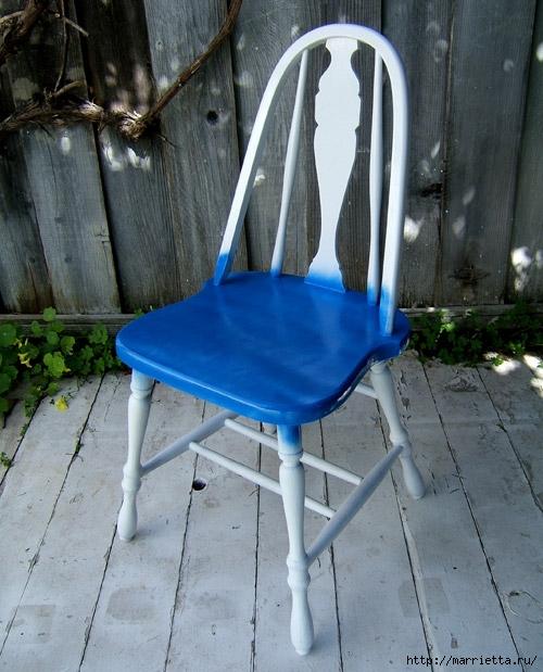 Кухонный стул с эффектом градиента. Реставрация мебели (7) (500x619, 221Kb)