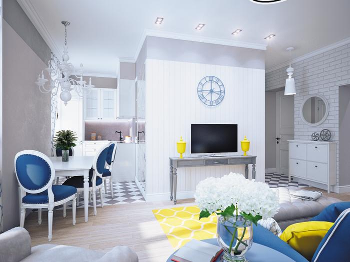 Дизайн квартиры в серо-голубых тонах