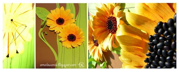 Цветы из бумаги. ПОДСОЛНУХИ (32) (700x284, 163Kb)