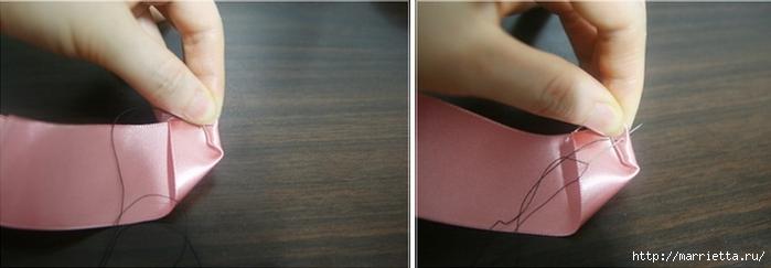 Эффектный бантик с розочкой из атласной ленты. Фото мастер-класс (3) (700x243, 102Kb)