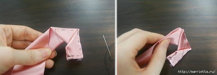 Эффектный бантик с розочкой из атласной ленты. Фото мастер-класс (8) (700x242, 101Kb)