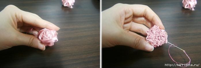 Эффектный бантик с розочкой из атласной ленты. Фото мастер-класс (13) (700x237, 102Kb)