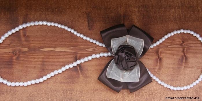 Эффектный бантик с розочкой из атласной ленты. Фото мастер-класс (15) (700x351, 197Kb)