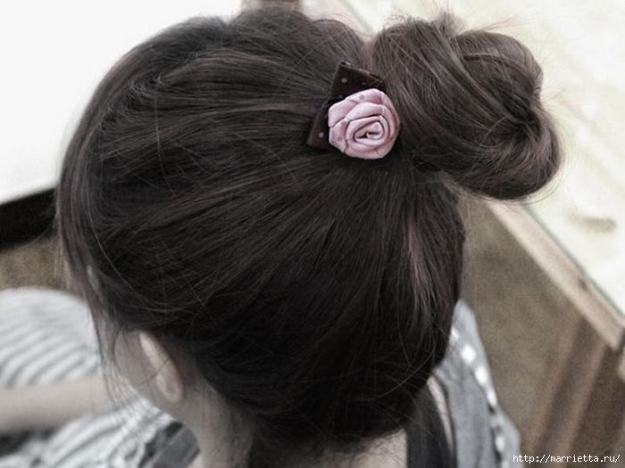 Розочка из ленты. Украшения для волос своими руками (4) (700x525, 198Kb)