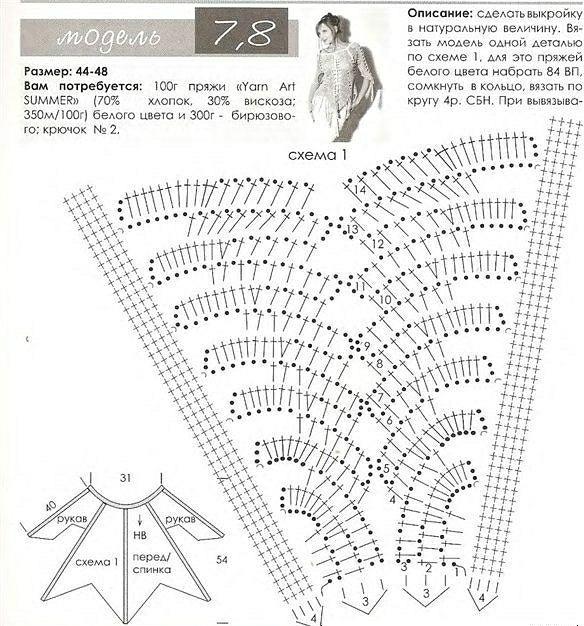 Вязание крючком. ПОНЧО в сеточку (3) (584x626, 381Kb)