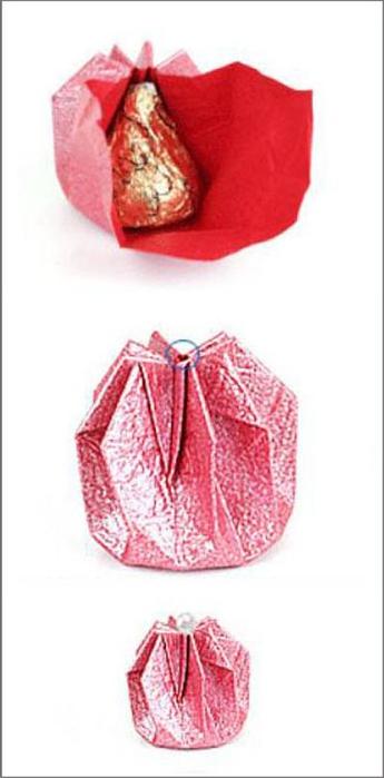Коробка шоколадок в подарок. Обертка-оригами для конфет  (6) (345x700, 103Kb)