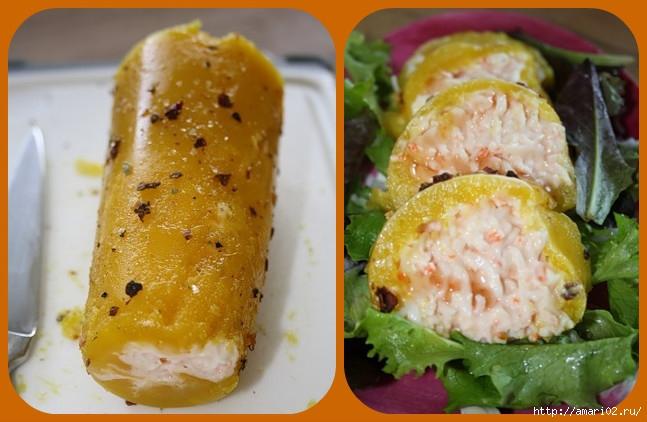 закускa из манго и крабового мяса