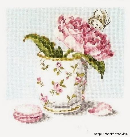 Схема вышивки ПИОН с бабочкой в кружке (8) (453x476, 123Kb)