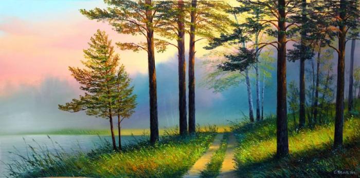 Утро в лесу (700x347, 302Kb)
