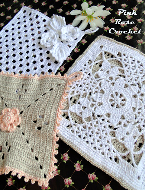 Pega Panelas Quadrado com Flor Crochet Pot Holders (480x630, 869Kb)