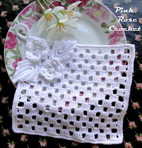 Pega Panelas Quadrado com Flor 3 Crochet Potholders (480x500, 614Kb)