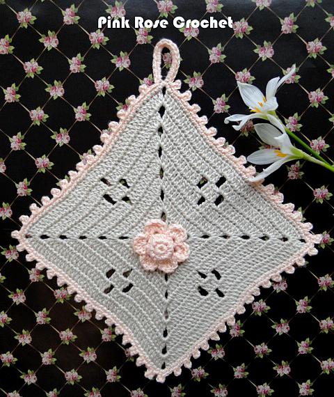 Pega Panelas Quadrado com Flor Crochet FlowerSquare Pot Holders (480x570, 672Kb)