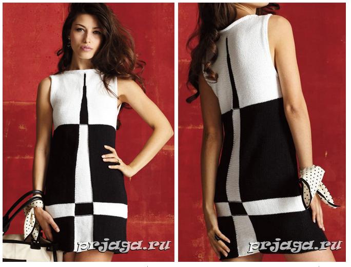 Вязать черно-белое платье