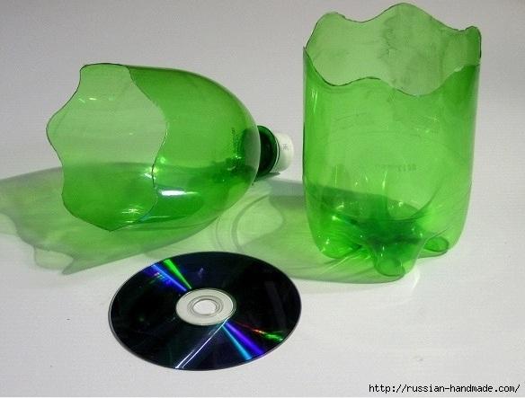 Вазочки из CD дисков и пластиковых бутылок (2) (584x443, 165Kb)