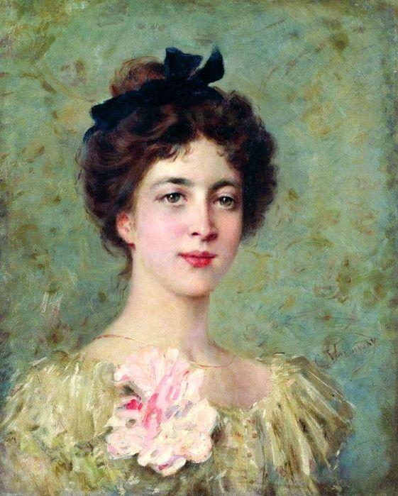 Маковский Константин Егорович.Портрет молодой девушки с розовым бантом (561x700, 75Kb)