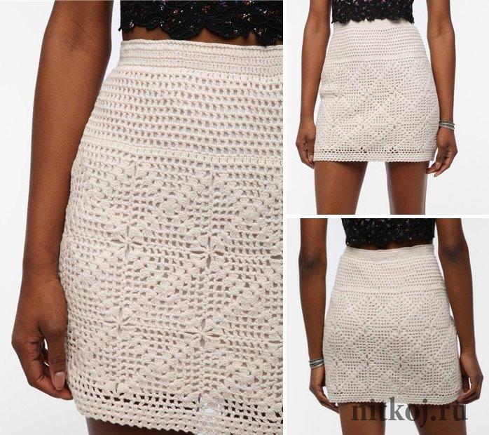 Подиумная юбка из квадратных