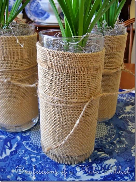 Волшебница мешковина) Стильный декор стаканов для цветов (3) (525x700, 467Kb)
