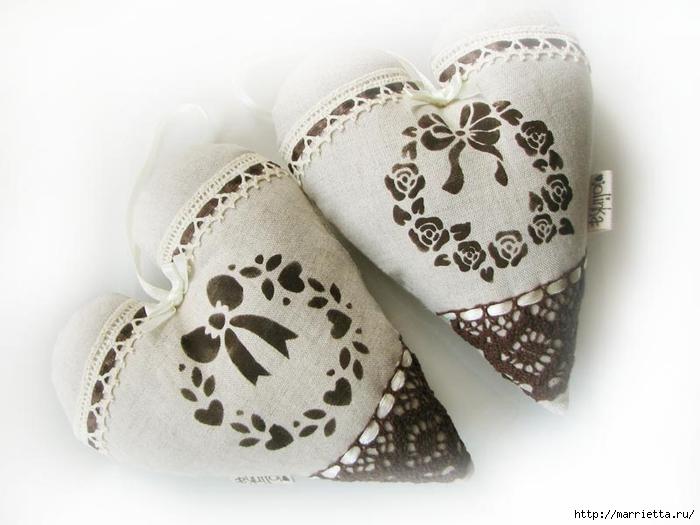 Текстильные сердечки. Большая коллекция очень красивых валентинок (9) (700x525, 190Kb)