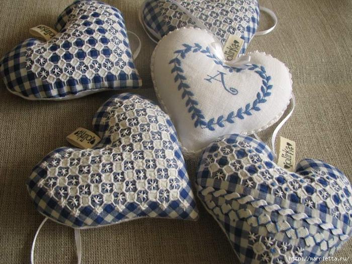 Текстильные сердечки. Большая коллекция очень красивых валентинок (24) (700x525, 349Kb)