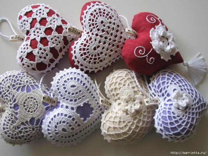 Текстильные сердечки. Большая коллекция очень красивых валентинок (63) (700x525, 305Kb)