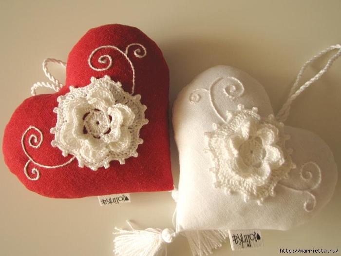 Текстильные сердечки. Большая коллекция очень красивых валентинок (71) (700x525, 201Kb)