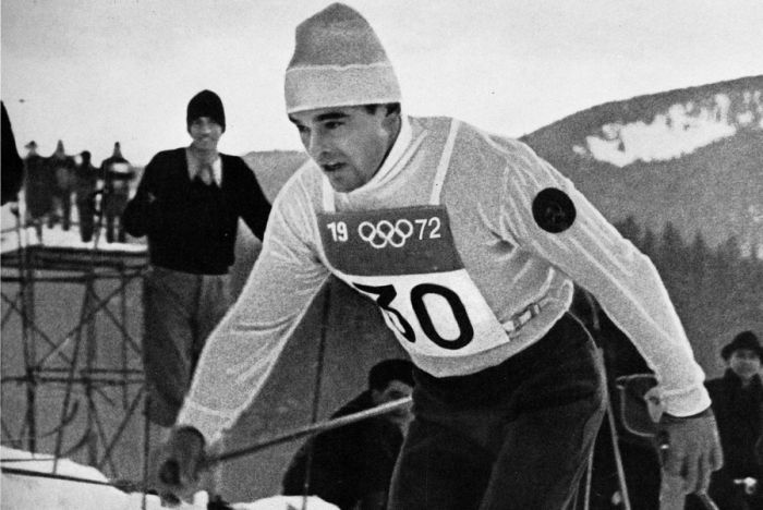 1972 год. Вячеслав ВЕДЕНИН на олимпийской лыжне в Саппоро. (700x468, 57Kb)