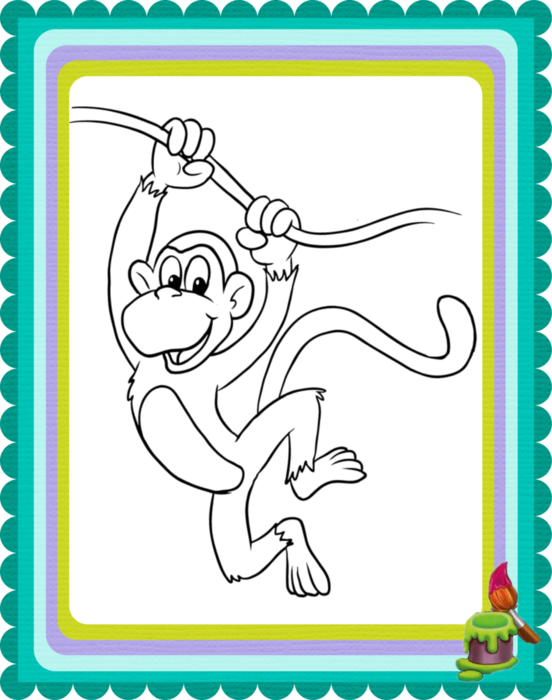 Раскраска обезьяна новый год
