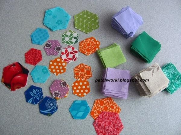 Пэчворк. Создание и сшивание шестиугольников для пледа. Мастер-класс (3) (600x450, 277Kb)
