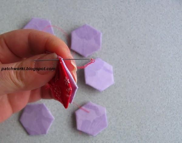 Пэчворк. Создание и сшивание шестиугольников для пледа. Мастер-класс (35) (600x473, 131Kb)