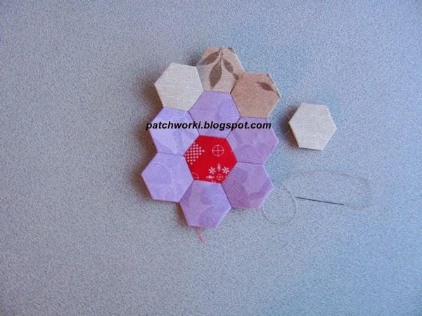 Пэчворк. Создание и сшивание шестиугольников для пледа. Мастер-класс (47) (600x450, 234Kb)