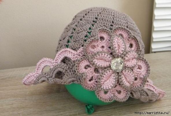Вязание крючком. Шляпка для девочки (1) (592x401, 134Kb)