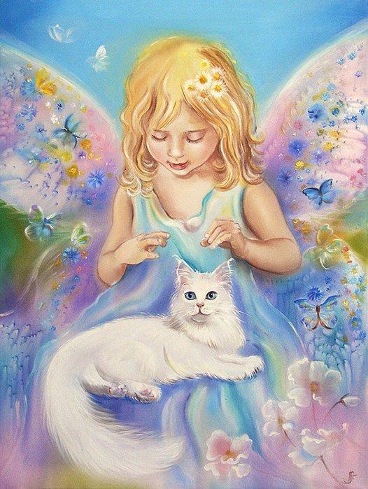 кошка и девочка Логинова (526x700, 96Kb)