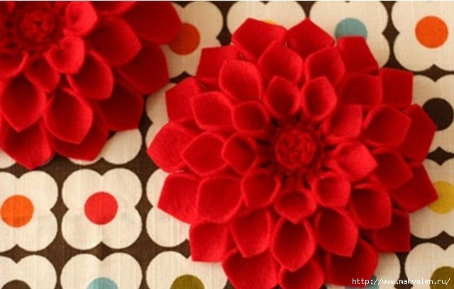 Красный цветок своими руками