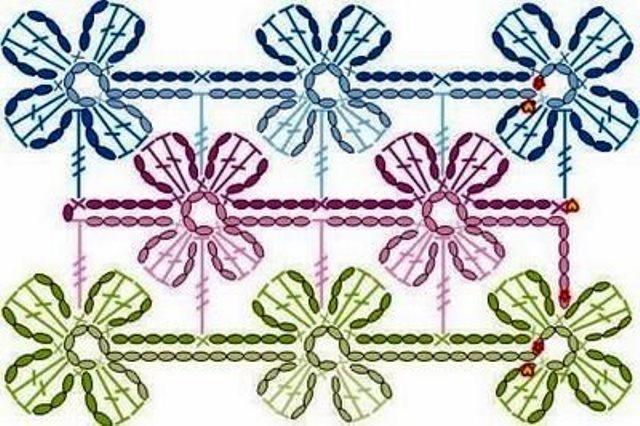 Безотрывное вязание крючком цветков 22