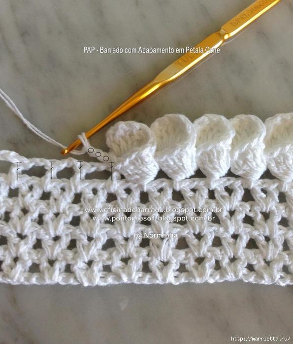 Обвязка крючком для полотенца. Схемы (23) (595x700, 300Kb)