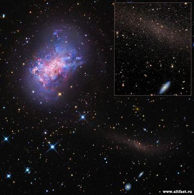 Астрономы обнаружили следы малого слияния галактик