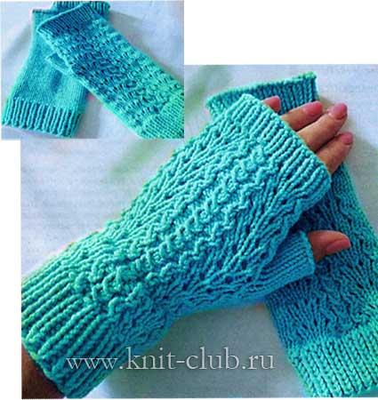 Митенки спицами схемы вязания