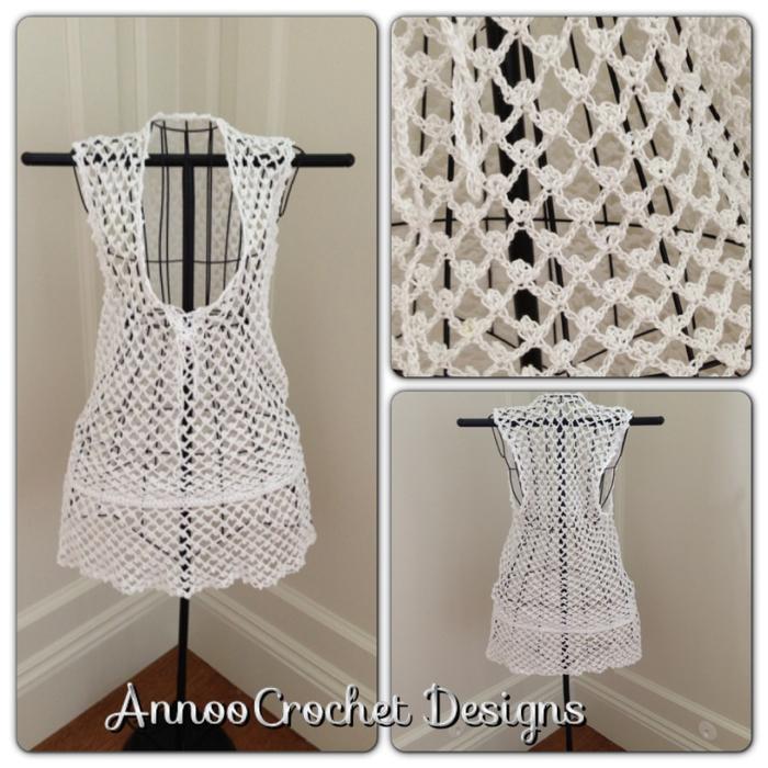 Вязание крючком пляжного платья по уроку