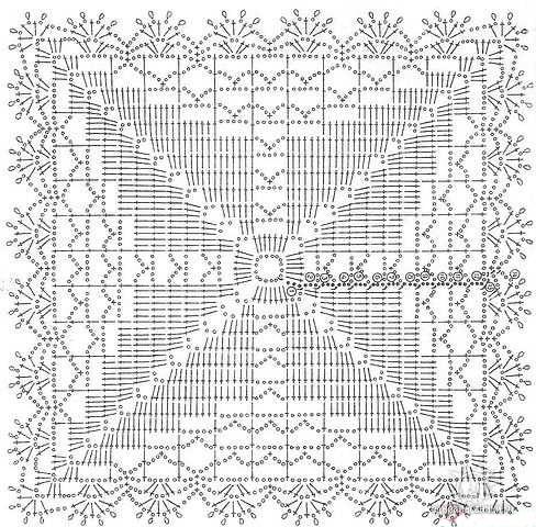Схема вязания скатерти крючком мотивами
