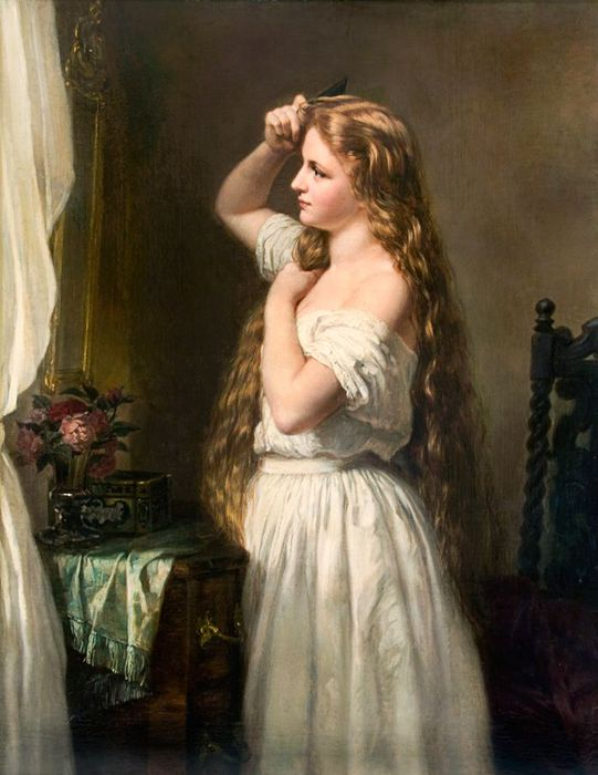 Oskar Begas (german, 1828-1883) - Jeune fille a sa toilette (541x700, 55Kb)