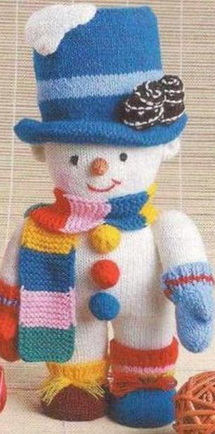 как связать снеговика спицами, как связать снеговика на спицах, как связать снеговика с ножками, схема вязания снеговика, вязаный снеговичок, вязаный снеговик от Хьюго Пьюго,