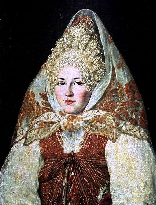 1Абрам Клюквин (1777-1867) Женщина в торопецком жемчужном кокошнике и платке (1) (534x700, 102Kb)
