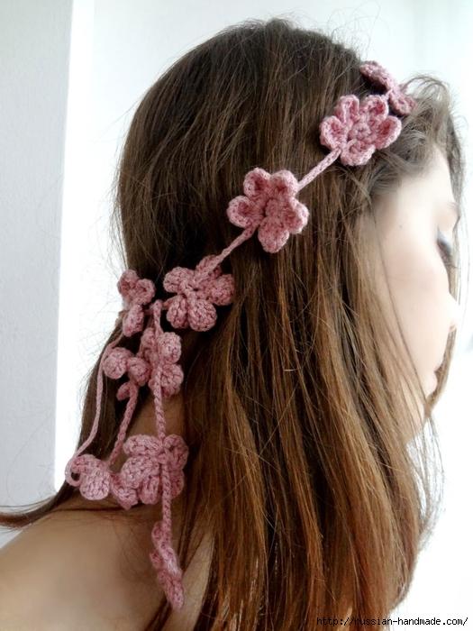 Вязание крючком. Маленькие цветочки для украшения волос (1) (525x700, 262Kb)