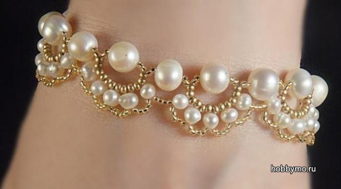 Галерея.  Нежный браслет из бисера и бусин,браслеты,бижутерия,бисероплетение,бисер,бусины.  Контакты.
