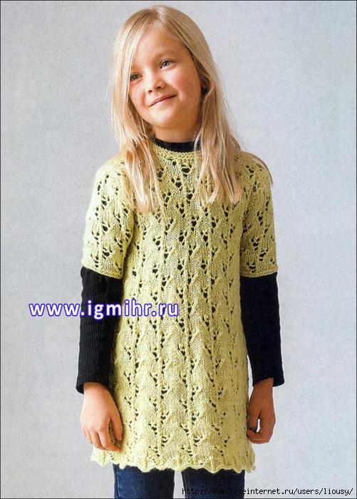 вязание спицами туника для девочки